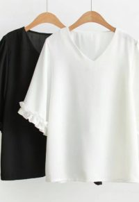 e9a29cd47b4 Simply Plus Size Chiffon Blouse With Cute Ruffle Detail
