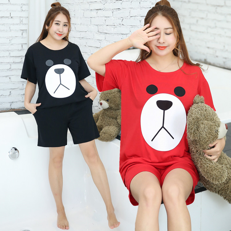 167f8fed44a Plus Size Cute Bear Face Short Pyjamas Set - Plusylicious