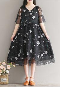 143e9e3d27881 Sweet Floral Plus Size Drawstring V-Neck Midi Dress