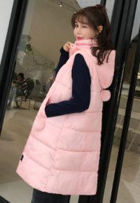 a5975fe8349 Winter Long Vest Women Plus Size Quilt Parka Hooded Coat