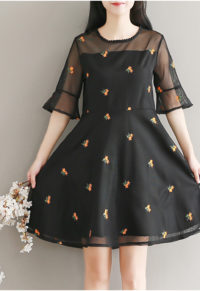 ac0bf75904a28 Plus Size Bell Sleeve Dress With Mesh And Floral Embroidery Detail