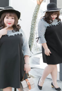 70307f2458867 Plus Size Contrast Lace Panel With Bell Sleeves Dress