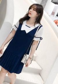 5f45ebb917ad7 Cute Sailor Inspired Plus Size Pleat Hem Dress