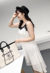 84689cfd513a8 Plus Size Women Lace Trim Strappy Dip Hem Dress