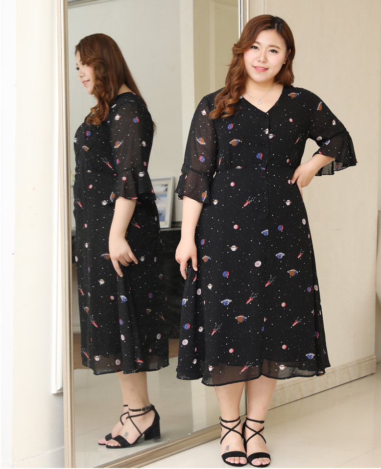 f59cb29a6a3 Plus Size Women Galaxy Print Bell Sleeves Dress - Plusylicious