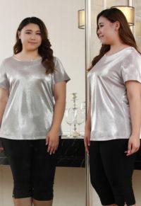 942df887d44 Plus Size Women Shiny T-Shirt