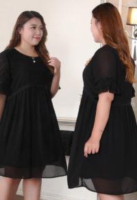 a8438dc2e21 Plus Size Black Chiffon Bow Bell Sleeve Dress