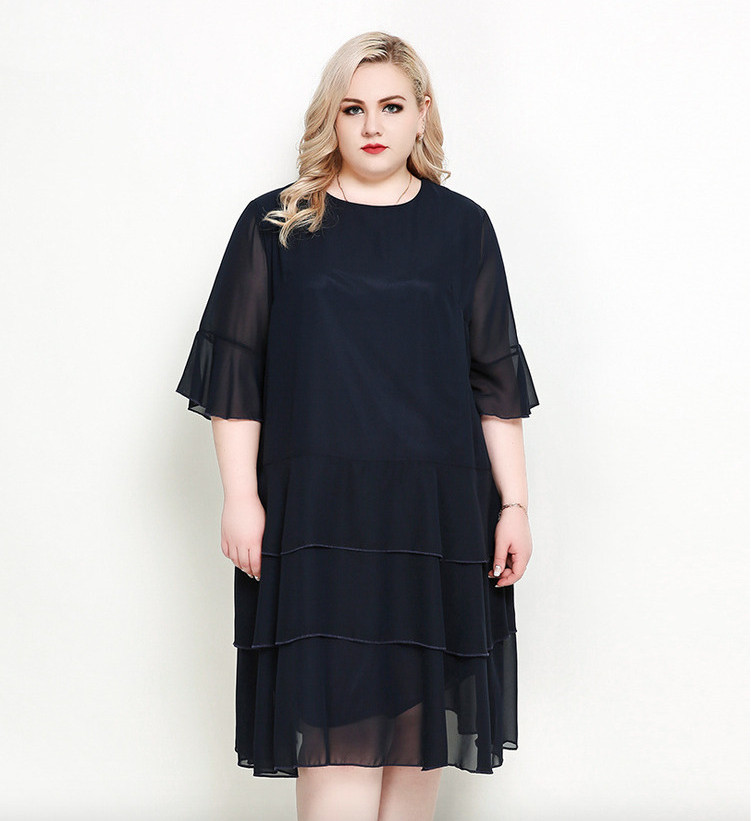 Plus Size Bell Sleeves Chiffon Tiered Dress