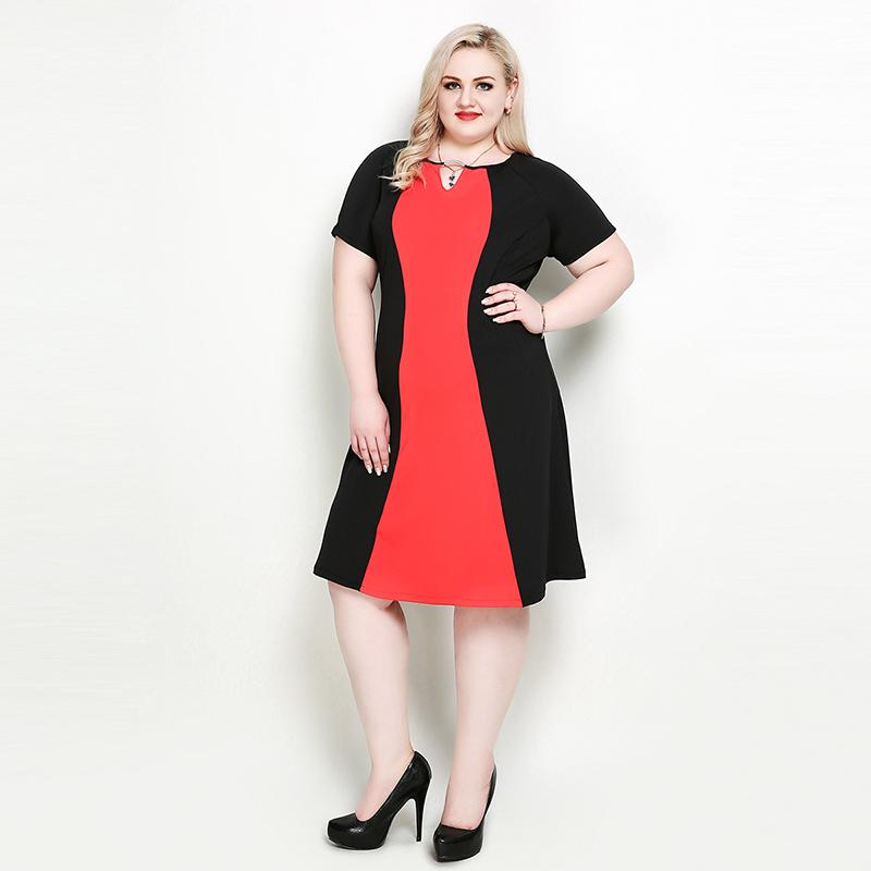 Plus Size Cut-Out Neck Color Block Dress
