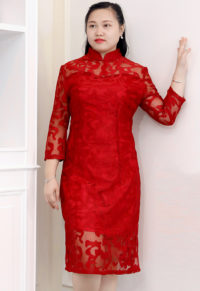 949bcc13fa7 Plus Size Red Cheongsam Party Dress With Half Sleeves