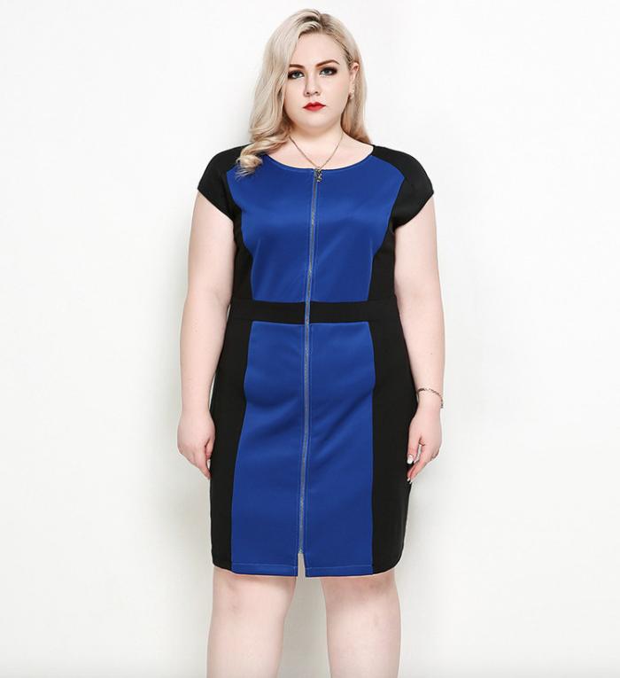 a5e2ec56fb9 Plus Size Blue Zip Front Color Block Dress - Plusylicious