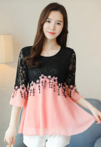 f65cbc09c2 Plus Size Sweet Lace Detail Chiffon Blouse