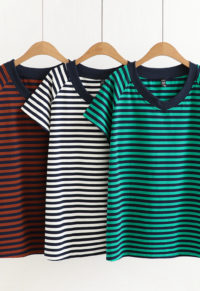 b59d02fdc5 Plus Size V-Neck Striped Cotton Tee