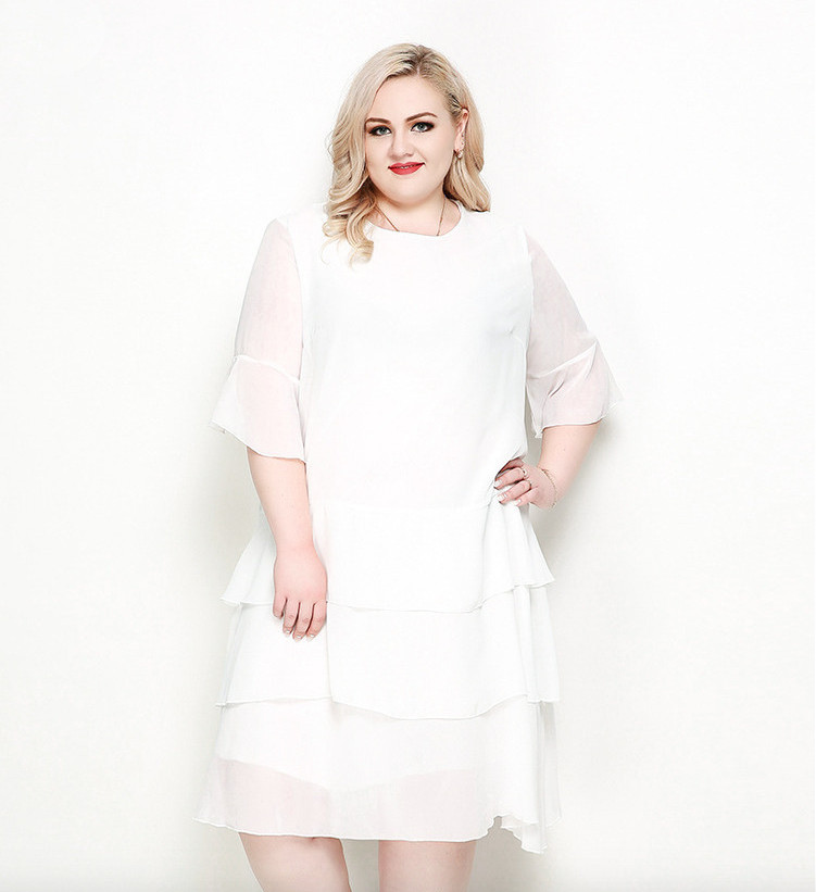 Plus Size Bell Sleeves Chiffon Tiered Dress - Plusylicious